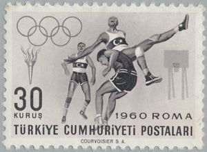 Sello: Basketball (Turquía) (Olympic Games, Rome) Mi:TR 1770,Sn:TR 1489,Yt:TR 1565
