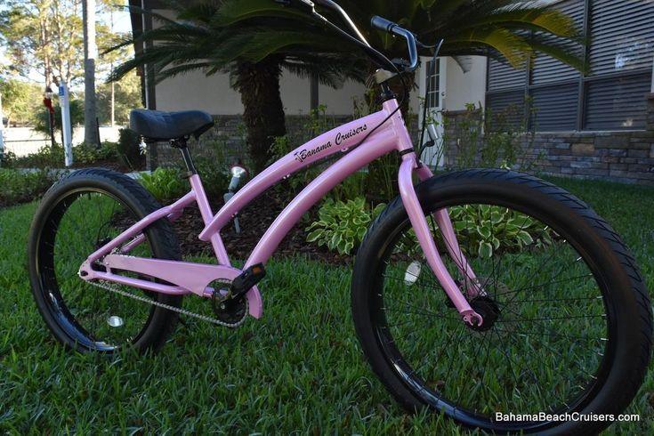Single Speed fat tire beach cruiser bicycle Pink Diamond Frame/Black Wheels  | eBay