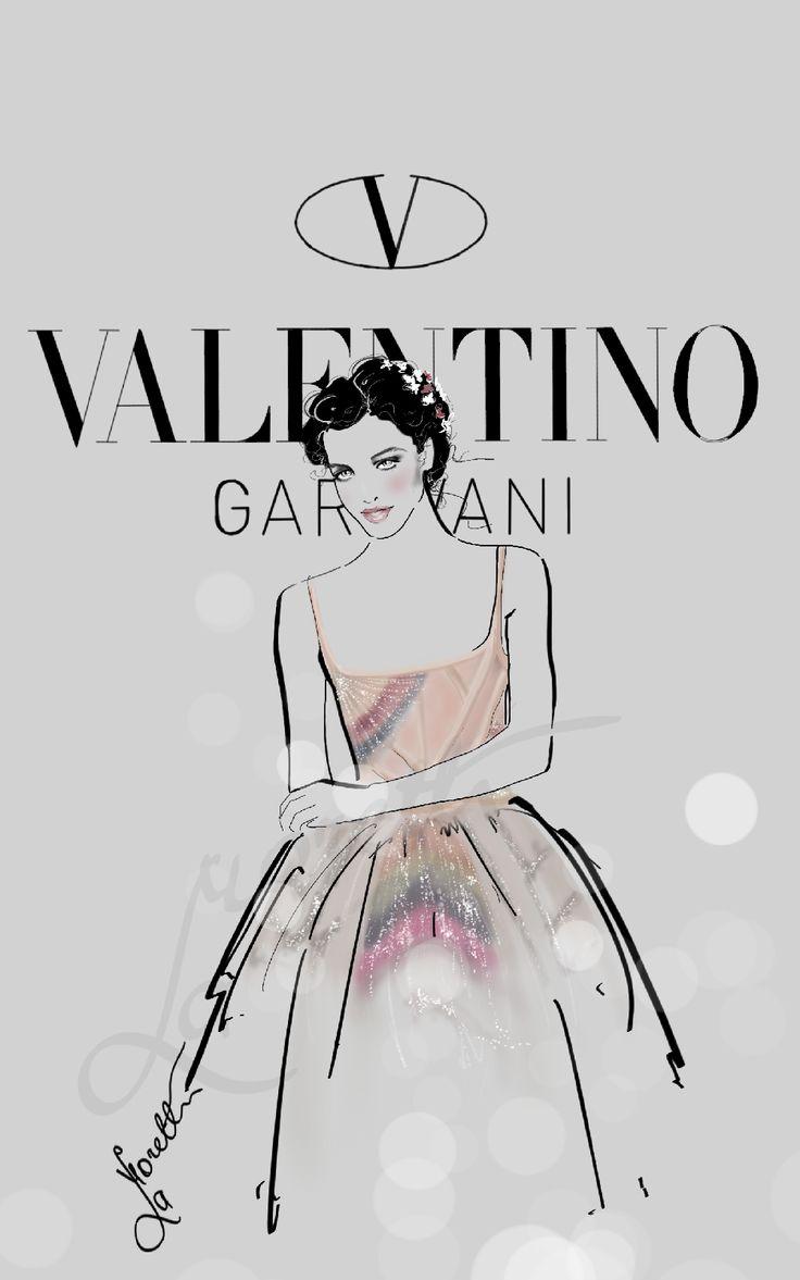 """""""Rainbow Valentino - Valentino Garvani ss 2015 Couture"""".  Illustration by Nadia La Moretti"""
