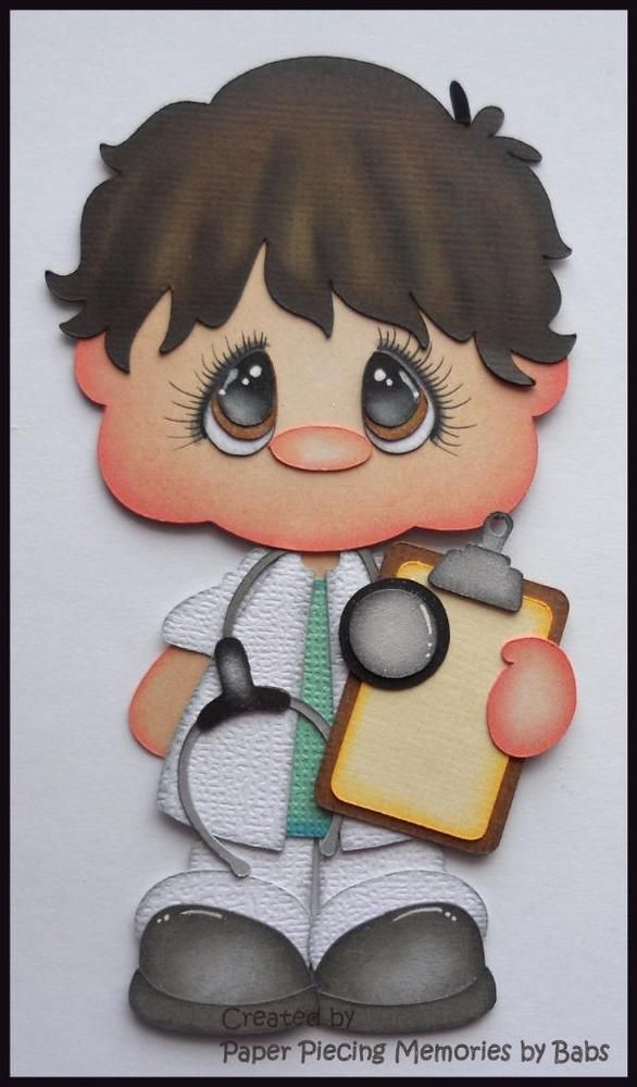 Doctor Dark Hair Premade Paper Piecing Die Cut for Scrapbook Page byBabs