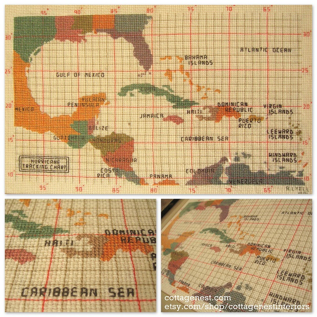 hurricane tracking map cross stitch pattern