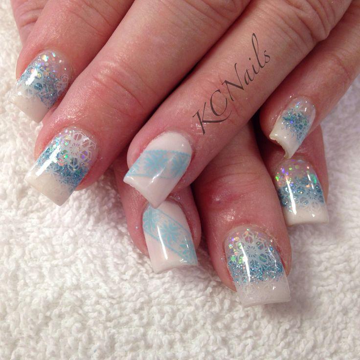 White Nail Polish In Winter: Winter Wonderland. White And Blue Acrylic Nail Fade
