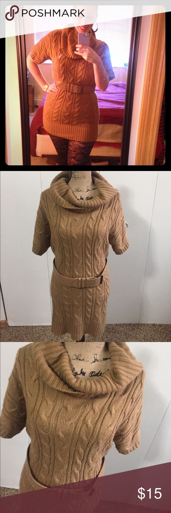 Forever 21 large tan cowl neck sweater dress Forever 21 large tan cowl neck sweater dress. Worn many times. The fabric has become somewhat fuzzy. It is still in okay condition. About 6/10. Very cute. Forever 21 Dresses