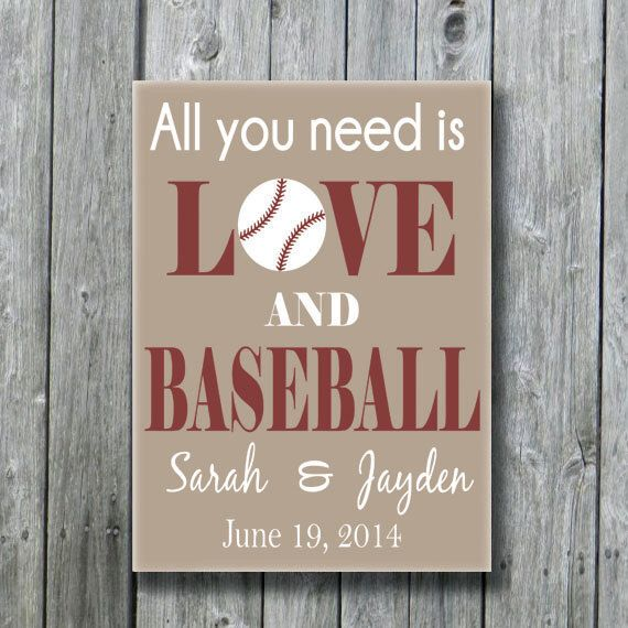 All You Need Is Love and Baseball,Personalized Baseball Wedding Gift,Anniversary Engagement Bridal Shower Gift,Baseball Sports Fan Gift by doudouswooddesign on Etsy https://www.etsy.com/listing/190070798/all-you-need-is-love-and