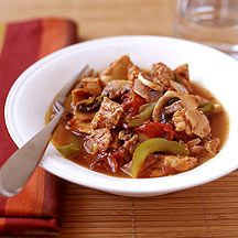 Slow cooked chicken caccaitore.  Nice easy recipe, but try using white wine next time to see if this is an improvement.