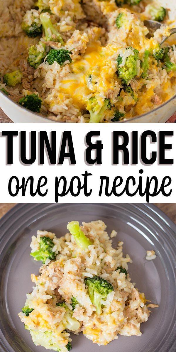 Easy Cheesy Tuna And Rice One Skillet Recipe Food Recipes One