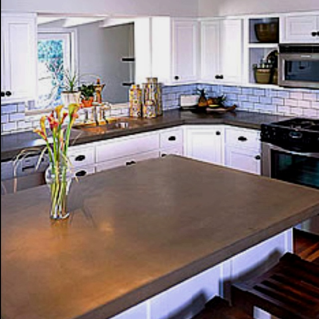 Countertops For White Kitchen Cabinets: Dream Kitchen. White Cabinets With Concrete Countertops