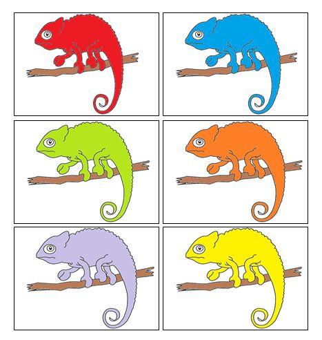 Kameleon spel (rapunzel) De juf legt een aantal kaarten naast elkaar en de kleuters moeten goed kijken naar de kleuren. Dan draait de juf de kaarten om en moeten de kleuters met de kaarten die ze gekregen hebben de juiste volgorde proberen te leggen.
