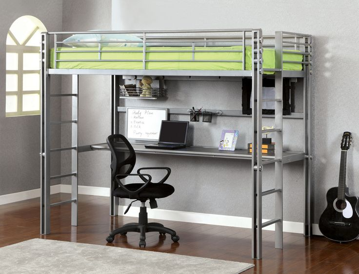 PRADO IITWIN LOFT BEDW/ WORKSTATION [CM-BK1167]This twin loft bed fi nished in silver and black is contemporary in style and includes a few special features. The bottom space is a workstation, with included accessories such as a white board and penholder.  Sale for $1076