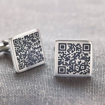 Personalised Secret Message QR Code Cufflinks | #technology #fashion #menswear #accessories