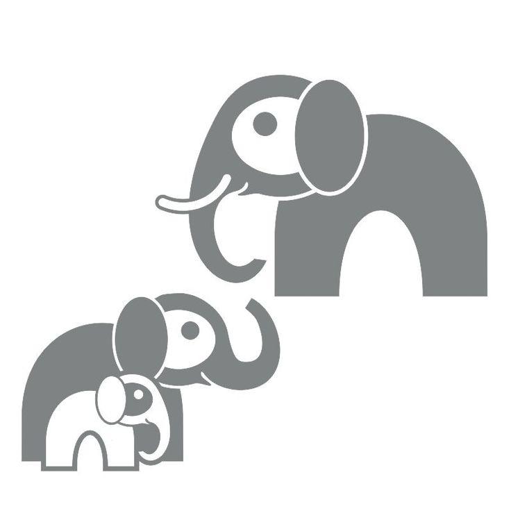 Sloní rodinka jako samolepící dekorace, která obzvláštní každý dětský pokoj.