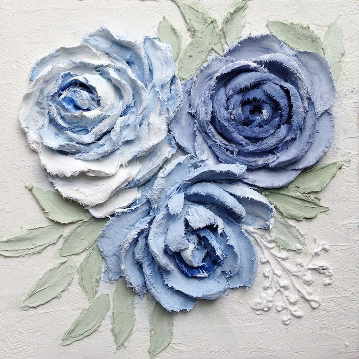Голубые розы. Скульптурная живопись. Sculpture painting. Material - stucco.