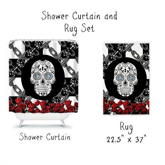 Goth Shower Curtain Part - 37: Sugar Skull Shower Curtain -Sugar Skull Rug- Black White Red Rose- Steam  Punk