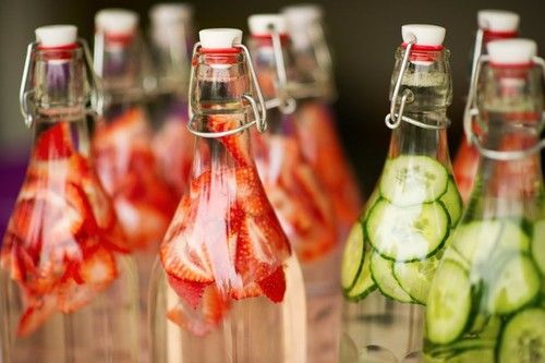 Fresh strawberry and cucumber water.