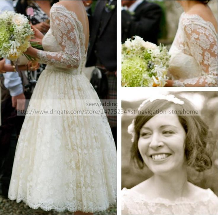 Wholesale Tea Length Wedding Dress - Buy Buy 1950s Vintage Wedding Dresses Lace Bateau Neckline Deep V Back 3/4 Long Sleeve Bridal Dresses Tea Length Garden Wedding Gowns Backless, $156.44 | DHgate