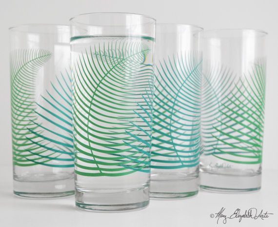 Summer Green Ferns Glassware - Set of 4 Everyday Glasses for $39.80 by Mary Elizabeth Arts