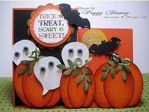 открытки своими руками на хэллоуин с тыквой в технике скрапбукинг