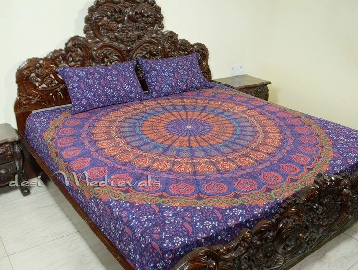 Hand Block Printed King Size Mandala Bedding Bohemian with Pillows Hippie Room | eBay