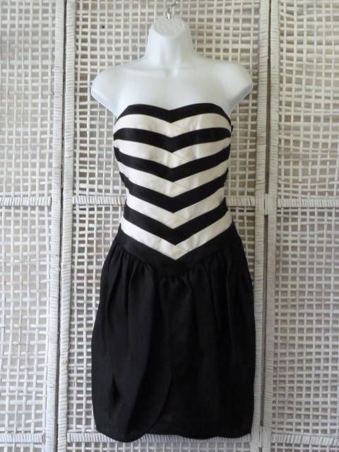 Louis Feraud Strapless Black+White Tier Chevron Top~Tulip Skirt~Cocktail Dress~S #LouisFraud #WigglePencil #Clubwear