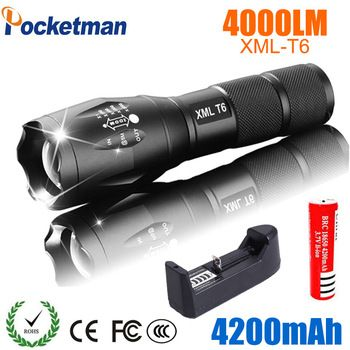 LED Rechargeable Flashlight CREE XML T6 linterna torch 4000 lumens 18650 Battery Outdoor Camping Powerful Led Flashlight  Price: 5.50 USD