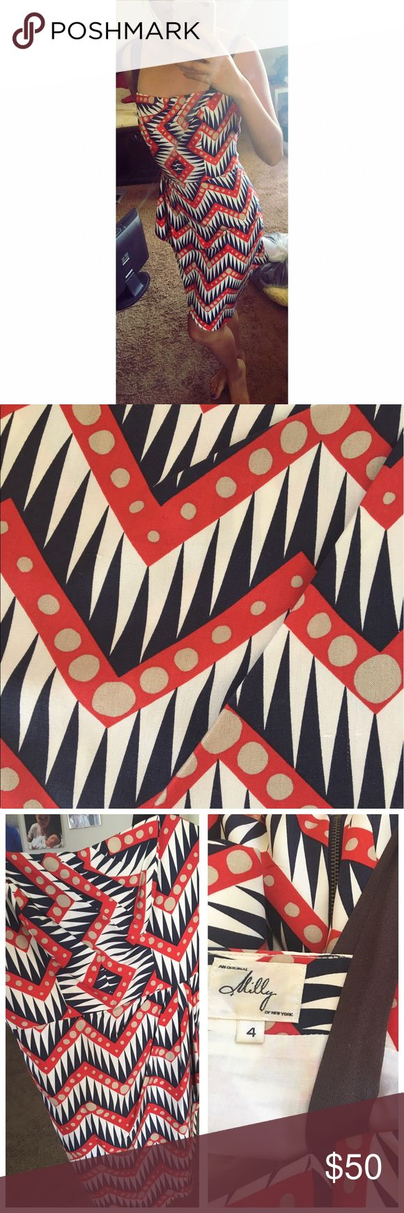 Milly of New York red white and blue chevron dress An original size 4 Milly of New York red white and blue dress with a polka dot chevron print. Has thick brown straps.  Shell made of 100% silk and the  lining made of 100% cotton. Made in the USA Milly Dresses
