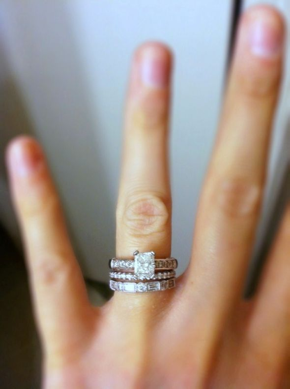 Beautiful ring stack wedding ring engagement ring Which finger to wear ring for single