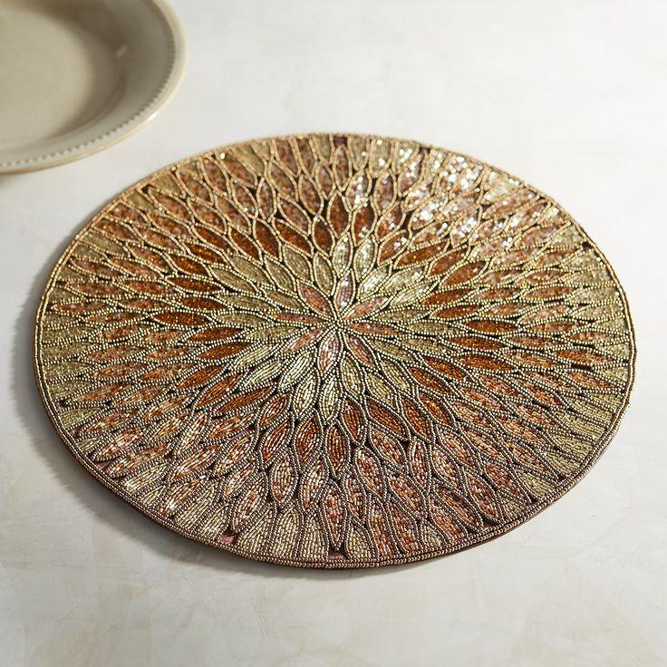Bronze Petal Beaded Placemat · Beading ProjectsTable LinensPlacematTea ...