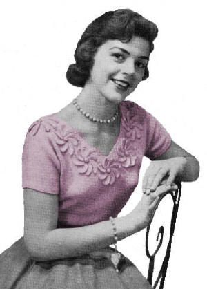 Blouse with Crocheted Flowers on V-Neck Vintage Knitting Pattern for download Sz 14-20
