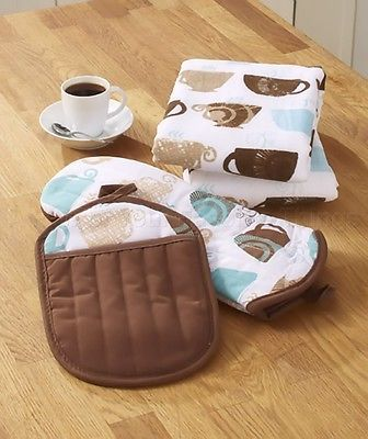 Coffee Themed Kitchen towels,pot holders