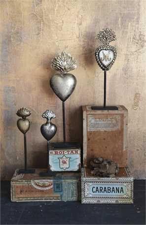 Religious Ex Votos Milagros Flaming Heart Tin by lamoneeboutique