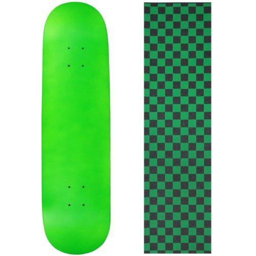 Blank Skateboard Deck - Neon Green - 8.25' Checker Green Grip