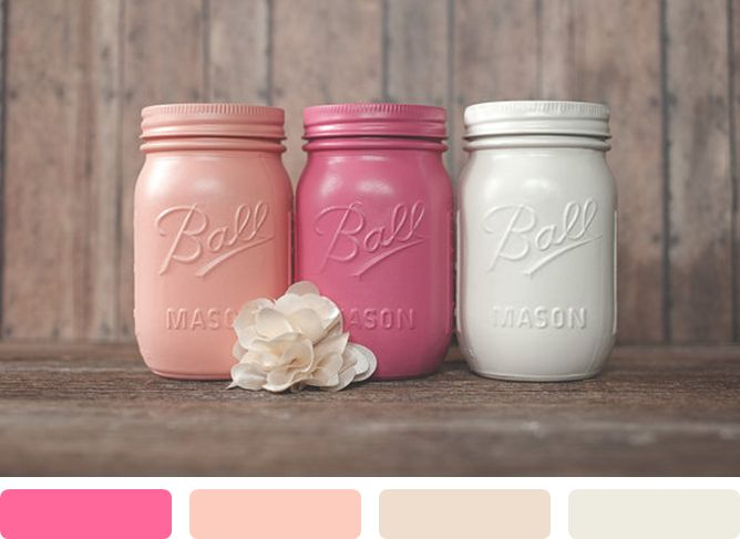 Color Trend: Painted Mason Jars! www.theperfectpalette.com - Color Ideas for Weddings + Parties
