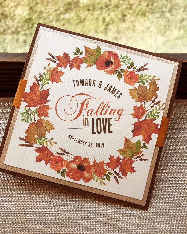 Falling in Love Watercolor Leaf Wreath Square Wedding Invitation Set - Sample by envymarketing on Etsy