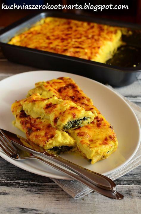 Kuchnia szeroko otwarta: Naleśniki ze szpinakiem i fetą zapiekane w sosie serowym