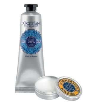 L'Occitane Shea Butter Daily Duo: Dry lips? Patchy elbows? Cracked hands? Tackle all of the above with this hydrating duo of hand cream and solid shea butter—packed in a tiny tin for less mess and easy travel.