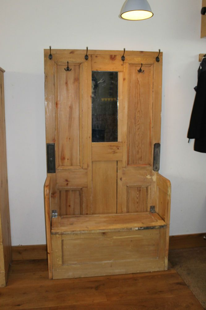 Rustic Pine Hall Stand Coat Stand Bench Storage Unit