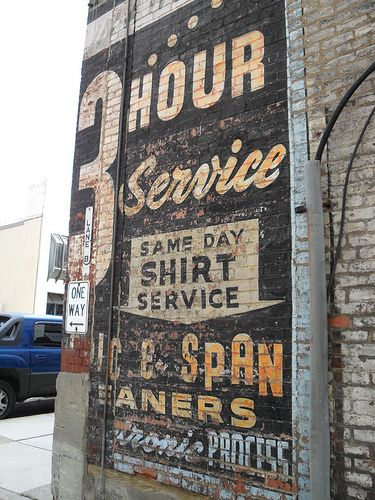 Old hand painted wall sign in Wheeling by retrosigns, via Flickr