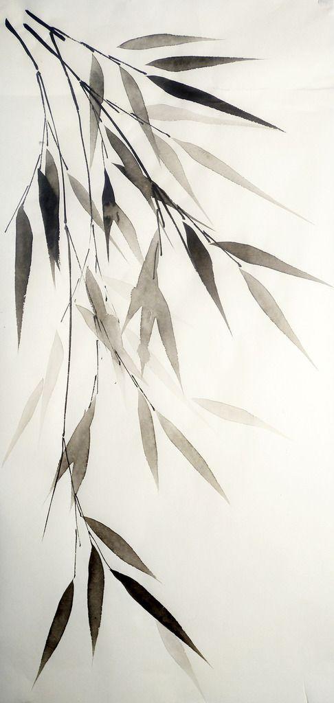 Bamboo leaves on white. Pen & Ink drawing. Valeria Viscardi - Bamboe tak