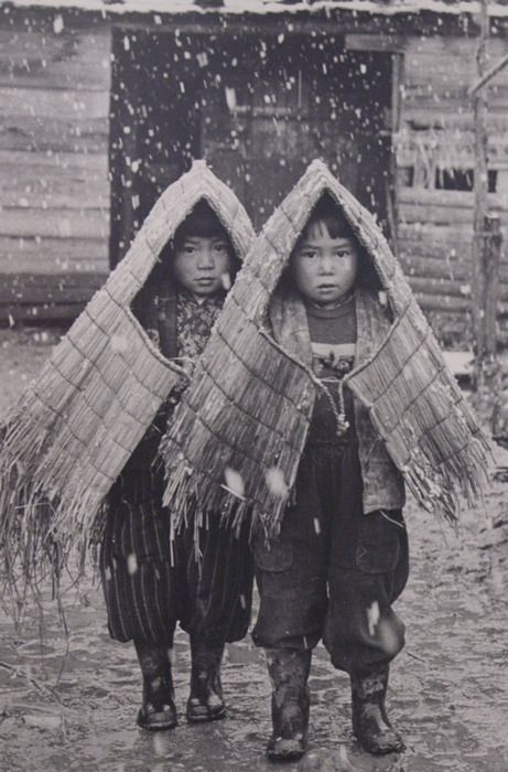 Country kids under snow, early Showa