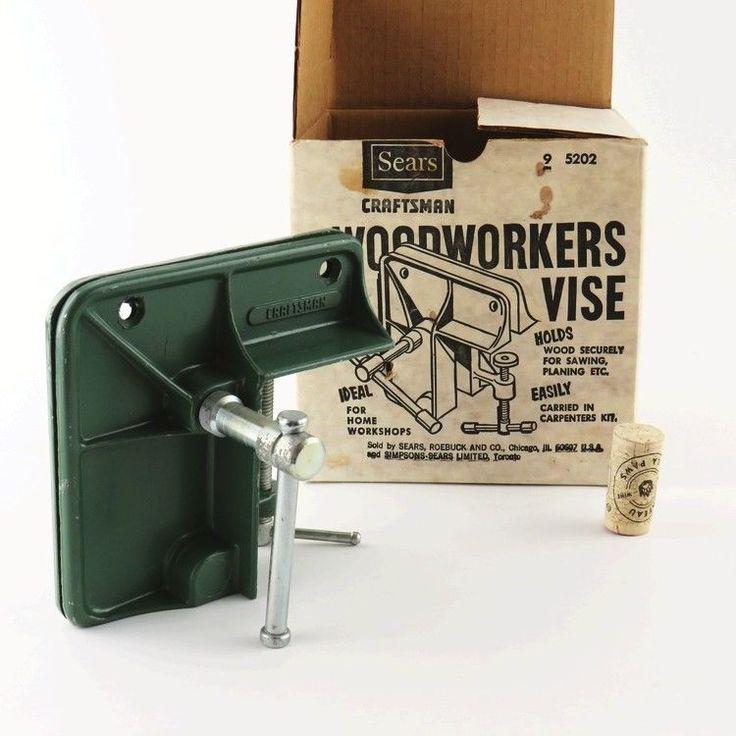1960s VINTAGE Sears CRAFTSMAN Wood Workers Vise 9-5202 ORIG Box Home Workshop