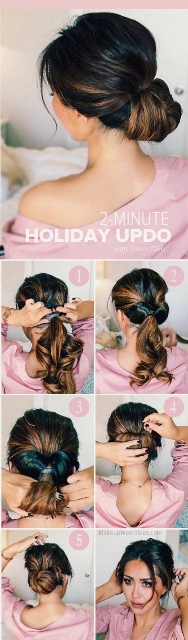 2 MINUTEN UPDO HAIRSTYLE || Easy-Frisuren-für-die-Arbeit-für-den-Alltag || E ...  #alltag #arbeit #frisuren #hairstyle #minuten