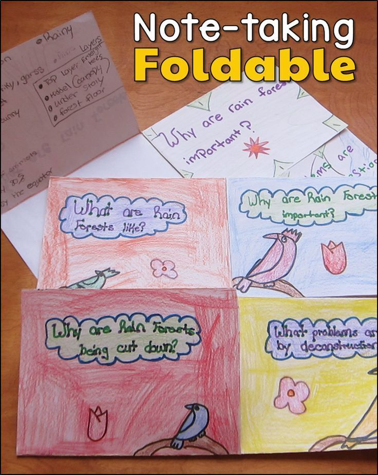 Awesome note-taking foldable! Divide the topic into 4 parts and create a flap for each subtopic. Download a free template from this page.