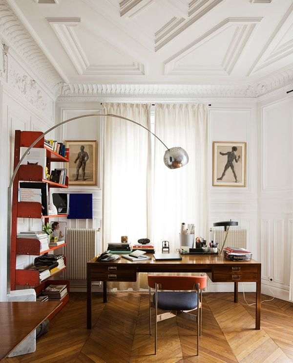 Fabulous office // The shelves, that light, great desk and the ceiling! Oh yeah, the floor is pretty awesome too.