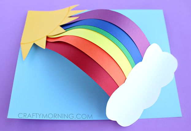 Make a 3d paper rainbow craft with your kids! You can make this sunny art project any time!