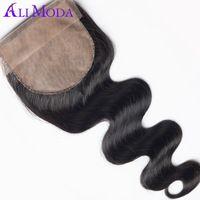 7A Body Wave Silk Base Closure 1PC Ali Moda Brazilian virgin hair body wave Unprocessed human hair weave Silk closure 4''x4''