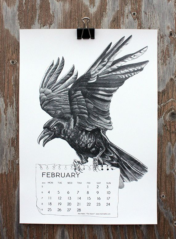 """The Raven"" by Meri Malmi, for February in calendar 13."