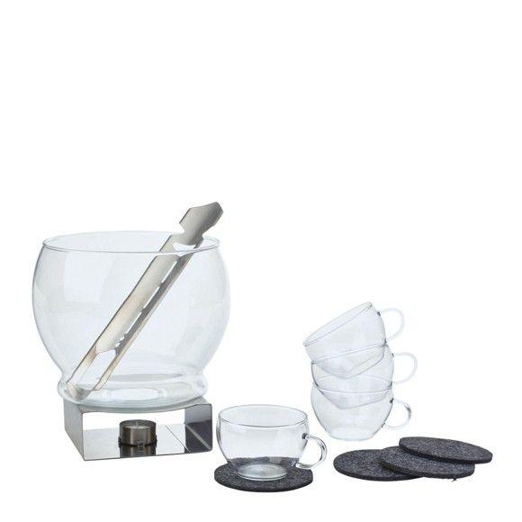 <div>Mit diesem <b>11-teiligen</b> Bowle-Set lässt sich Feuerzangenbowle bestens genießen. In der Winterzeit duftet das Kult-Getränk köstlich aus dem Glasgefäß und kann dank der zugehörigen <b>4 Glastassen </b>genossen werden. Zudem machen 4 Filzuntersetzer, eine Feuerzange und ein Stövchen das Set komplett. Natürlich lässt sich auch eine sommerliche Bowle mit Beeren bestens darin anrichten. BOHEMIA Qualität, die Genuss verspricht!</div>