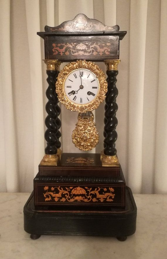 Antique Portico Mantel Clock French Empire by TheNeroAntiquesShop