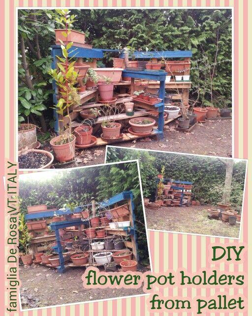 DIY flower pot holdersfrom pallet / FAIDATE portavasi dal pallet - Elena De Rosa & Novella Brizi #palletproject