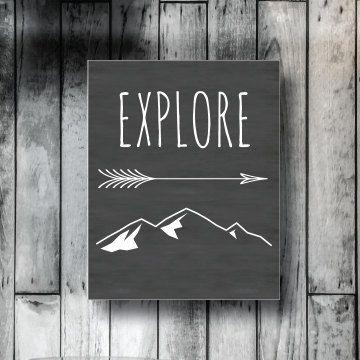 Explore wall art, cabin decor, dorm decor, printable decor, office decor, digital download, 8x10, chalkboard, mountains, arrow